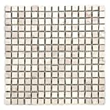 Divero Marmor 11 Matten 30 x 30cm je 15 x 15 Steine Naturstein-Mosaik Fliesen für Wand Boden quadratisch creme