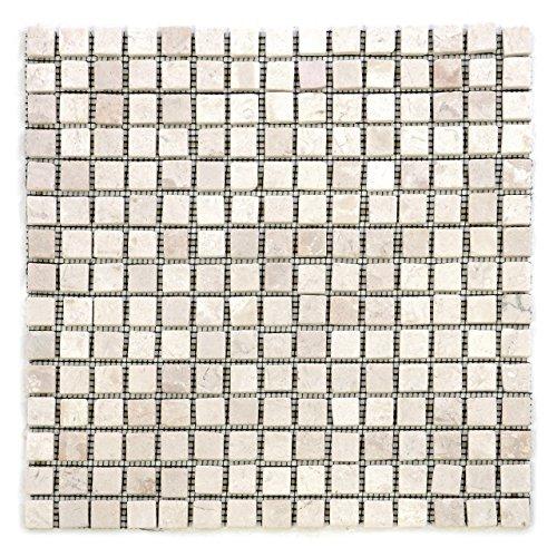 Getrommelt Marmor Mosaik 1x1 (DIVERO Marmor 11 Matten 30 x 30cm je 15 x 15 Steine Naturstein-Mosaik Fliesen für Wand Boden quadratisch creme)