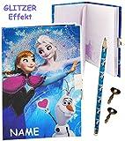 Unbekannt 3-D Glitzer Effekt _ Tagebuch mit Schloss -  Disney die Eiskönigin - Frozen  - incl. Name - Buch & Bleistift / gebunden für Geheimnisse - Reisetagebuch / No..