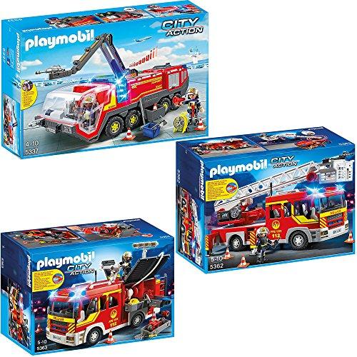 Preisvergleich Produktbild PLAYMOBIL® City Action 3er Set 5337 5362 5363 Flughafenlöschfahrzeug + Feuerwehr-Leiterfahrzeug + Löschgruppenfahrzeug