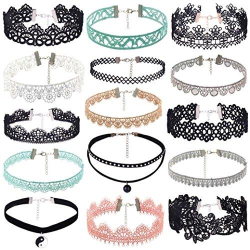cinnamou 15 Stück Choker Halsketten Set Velvet Halskette Tattoo Halsband Schwarz Halsband (Blase Anweisung Halskette)
