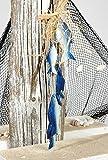 Fisch Girlande mit Bast gebunden blau (6Teile ca.30cm) Maritim Geldgeschenk