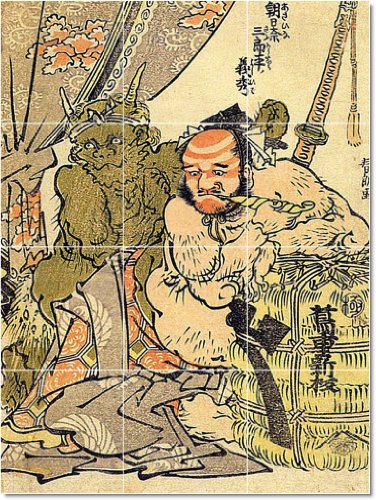 AZULEJO KATSUSHIKA HOKUSAI UKIYO-E MURAL INTERIOR REMODELACION IDEA  48X 182 88CM CON (24) 12X 12AZULEJOS DE CERAMICA