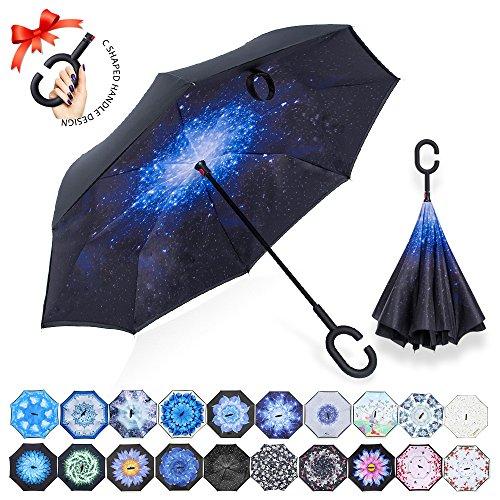 Ombrello inverso antivento, c forma impugnatura dritta rod doppio strato invertito ombrello per auto all'aperto(cielo stellato)