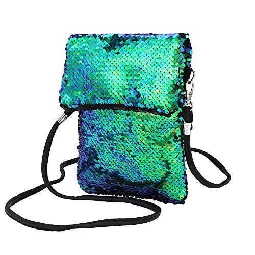 Zolimx Pailletten Handtasche Schultertasche Tote Damen Geldbörsem, Mode-Outdoor-Solid Color Doppelseitige bunte Mini quadratische Tasche Schulter Messenger Bag Handytasche (Grün)