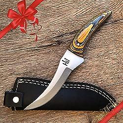 Hobby Hut HH-321 Couteau de Chasse Fait Main personnalisé avec Gaine, Couteau Buschraft à Lame Fixe Full Tang conçu pour Le Camping et la Survie