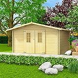 XINGLIEU Garage Lagerung 34mm 4x4m Gartenhaus Schuppen Holzhütte Massivholz Outdoor Schuppen Dachmaterial: Massivholz (Dach Filz Nicht enthalten)