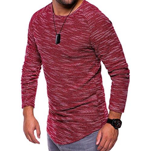 Yinew Herren Pullover Shirt Herren T-Shirt Rundhals Schlankes Langärmeliges Herbst und Winter Wein Rot 4XL