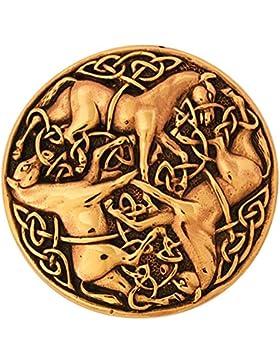 Keltische Bronzefibel Drei Pferde Mystische Brosche Wikinger Gewandschmuck Fibel LARP