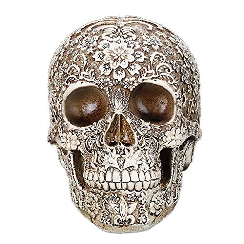 en Schädel mit Blumen - Modell , Haus Tisch Ornament Halloween-Dekor ()