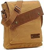 EcoCity Vintage Small Canvas Messenger Shoulder iPad Bags For Men & Women MB0002K1 (Khaki)
