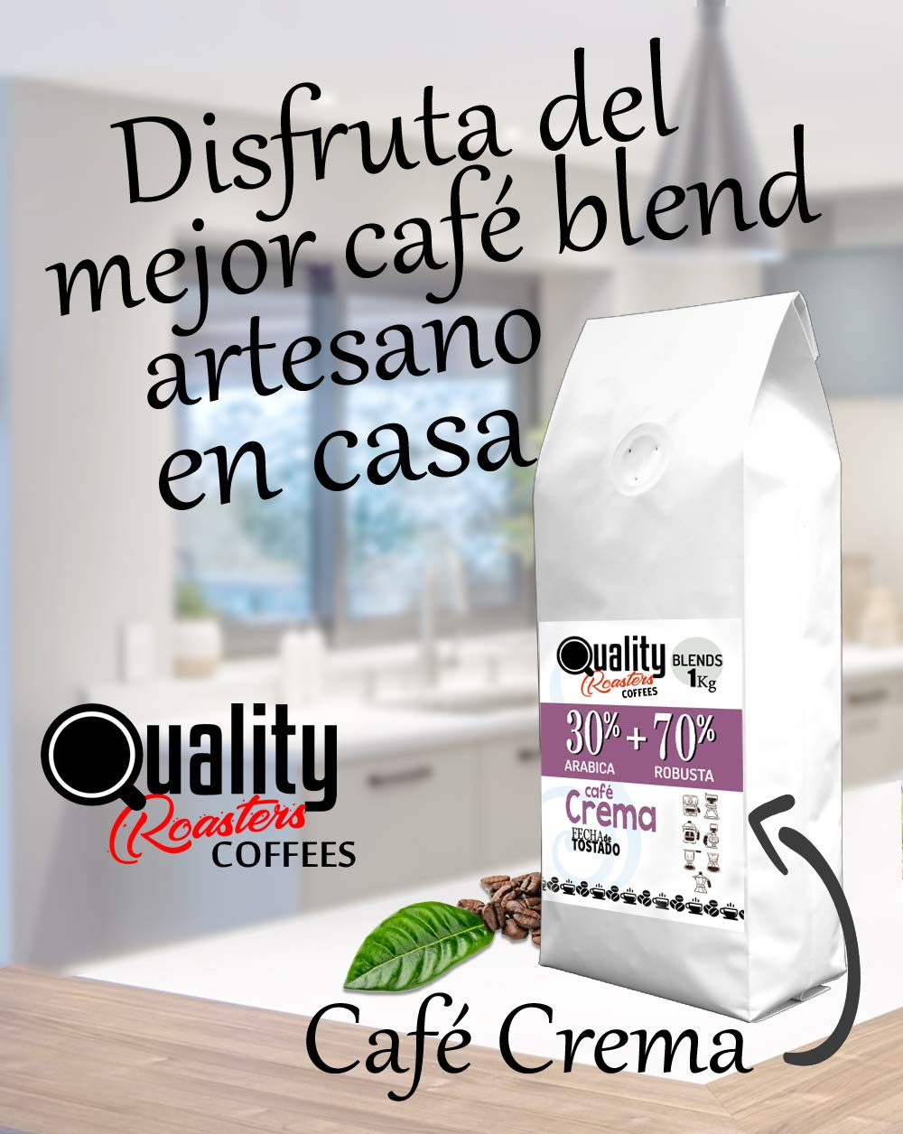 "☕ Natural Coffee Beans. ""Café Crema"". 30% Arabica + 70% Robusta. Blend. 1kg. Handmade Roast."
