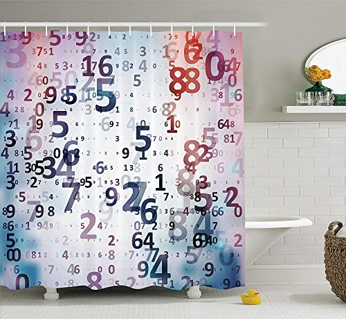 VVIANS Abstract Home Decor Shower Curtain Set, Digital Code Numbers Computer Database Science Information Technology Themed Art, Fabric Bathroom Set with Hooks, 60 * 72 Inch, Lilac and Coral -