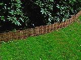 EXCOLO Beetbegrenzung aus Weide 10 Stück· Beeteinfassung Größe 20 cm H x 120 cm L · Weidenzaun zur Beet-Umrandung oder Weg-Abgrenzung