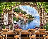 Weaea Carta Da Parati Foto 3D Personalizzata Arco Moderno Foglia Strada Verde Flower Vine Carta Da Parati Soggiorno Divano Tv Sfondo Wallpaper-250X175Cm