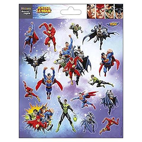 Nouvelles Images 75007658 Justice League Mini Autocollant Papier Multicolore 14,5 x 7,5 x 0,1 cm