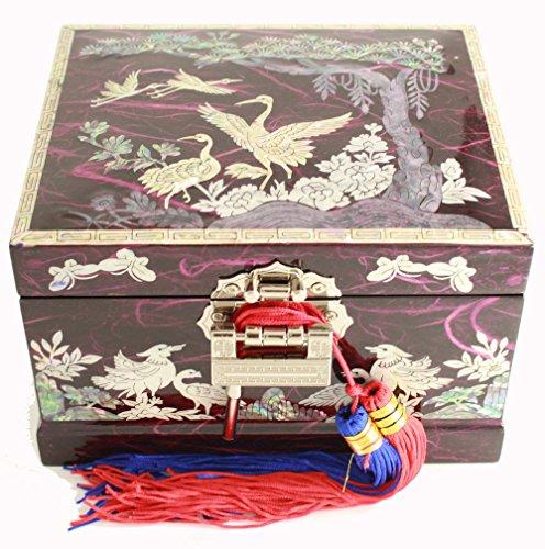 Boîte à bijoux musicale, fait à la main Violet Mère de perle cadeau oriental. Pine tree et grue
