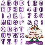 HO2NEL StampiniperBiscotti 40 Pezzi StampiniPastadiZucchero Lettere E Numeri Attrezzi Pasta di Zucchero per Decorare Biscotti Torta Cioccolato Natale Glasse Fondenti Zucchero Viola