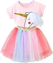 NNJXD Kleine Mädchen Casual Dress Einhorn Printed Top T-Shirt + Regenbogen-Rock