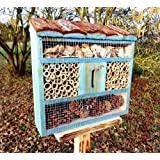 Cute Insect Hotel, with Holzrinde-Naturdach, FDV-OS Large 50 cm Wooden Blue Tit Nest Boxes Titmice Birdhouse Nesting To Complement The Bright Maroon Or Birdhouse Bird House Box Feed Feed Station for Birds Insects Cottage - Insect Hotels, Insect Hotel for Ecological Organic Natural Aphid Control Suitable for, Marienkäferhaus-Ladybug-Marienkäferkasten-Schmetterlingshaus-Butterflies, Garden Ornaments