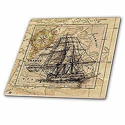 3D Rose Image of Black Ghost Ship on Vintage European Map Ceramic Tile