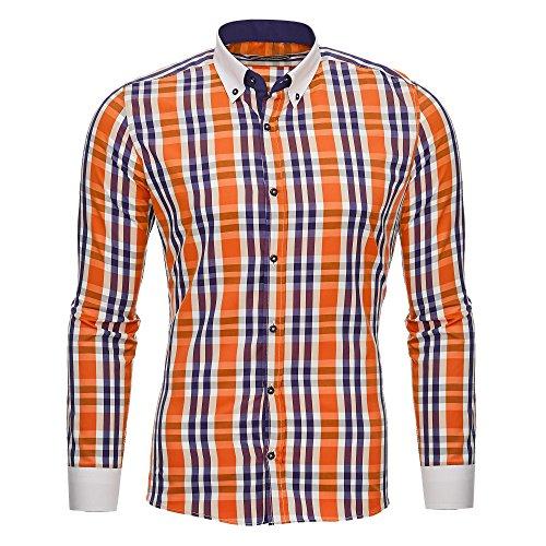 "Kickdown Herren Hemd Slim-Fit 5 Farben Kariert S-XXL Model ""Rainbow"" (XXL, Orange) (Seide Bowling Shirts)"