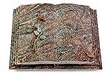 MEMORUM Grabmale Grabbuch, Grabplatte, Grabstein, Grabkissen, Urnengrabstein, Liegegrabstein Modell Livre Pagina 40 x 30 x 8-9 cm Paradiso-Granit, Poliert inkl. Gravur (Bronze-Color-Ornament Rose 5)