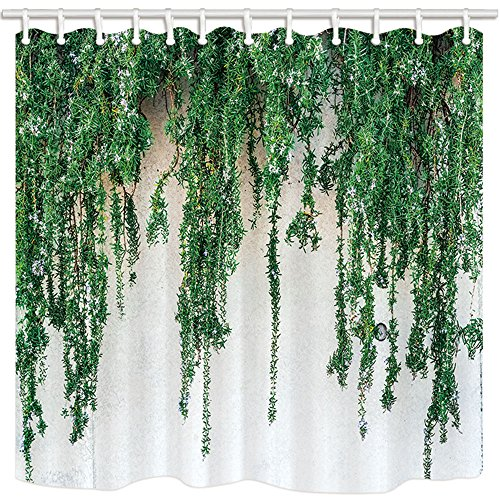 Kotom tende da doccia nature decor, cascata di verde con fiori azzurri su uno sfondo di cemento rinforzato stampa tende da bagno in tessuto impermeabile, 69x70 pollici