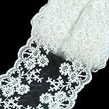Vlovelife 0,9m 12cm largo bianco pizzo nastro tessuto vintage floreale pizzo nuziale festa di nozze bomboniere regali di Natale Home Decor DIY Lace Art Craft cucito forniture 1yard x 4.8'' White