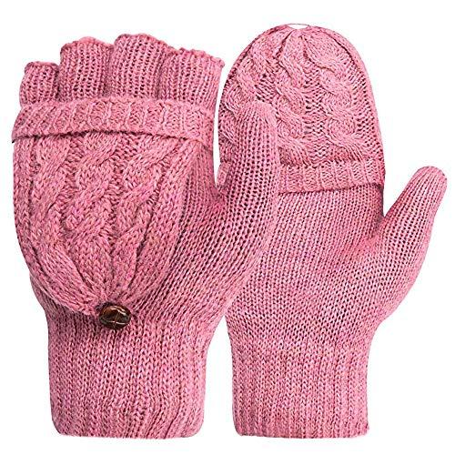 Surgood Guantes sin dedos convertibles lana imitación