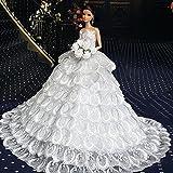 WayIn® Vestido de boda hecho a mano magnífico hecho para adaptarse a la muñeca Barbie Blanca