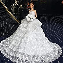 WayIn® Splendido abito fatto a mano da sposa fatta su misura per la bambola di Barbie Bianco