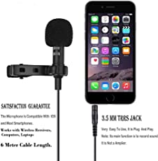 Professional Grade JT Wizzit Lapel Microphone ¬ Omnidirectional Mic with 20 feet Audio Cable. Easy Clip On System ¬ Perfect for Smartphones , Android / IOS. Wireless Receivers , Computers, Laptops. Recording Youtube / Interview / Video Conference / Podcast / Voice Dictation