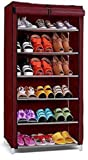 AYSIS Multipurpose Portable Folding Shoes Rack 6 Tiers Multi-Purpose Shoe Storage Organizer Cabinet Tower with Iron and…