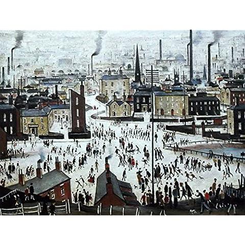"""L S Lowry specialità Stampa/quadro """"Una città di Lancashire su una struttura in lino, misura media, Image 16"""" x 12"""" + Border, 40 x 30 cm"""