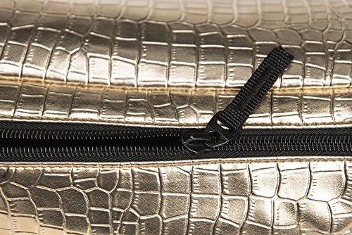 Doris Boutique Fu - PU Leder Damen Herren Neutral Gürteltasche Bauchtasche Hüfttasche Geldbeutel Bikertasche (Silber) Gold
