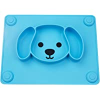 Baby Suction Plates, Non-Slip Feeding Plate for Toddlers Babies Kids with Suction Cups Fits Most Highchair Trays BPA-Free FDA Approved, Dishwasher and Microwave Safe (Blue)
