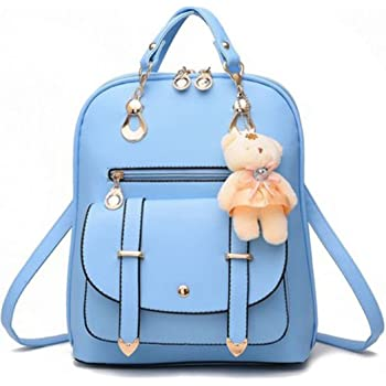 Fashion Girl s Women Synthetic Leather School Shoulder Bag Backpack Travel  Rucksack Purse With Adorable Bear … ee1c16b24a6e0