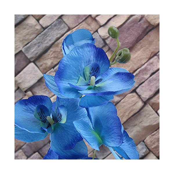 Orquídeas con mariposa de seda, artificiales, para decoración de hogar y sala de estar y bricolaje, azul