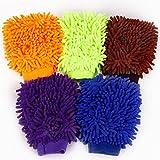 Hamimelon 5 Set Doppelseite Wasserdicht Mikrofaser Waschhandschuh Autowaschhandschuh Reinigungshandschuh Putzhandschuh Autopflege