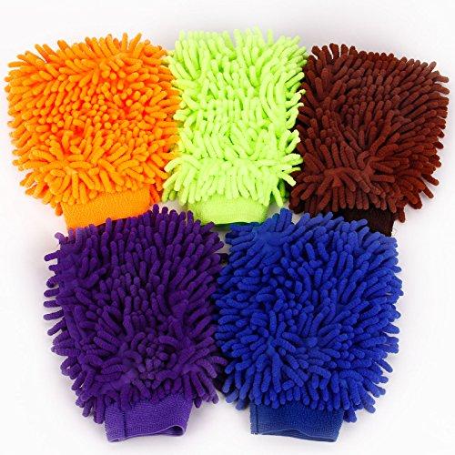Preisvergleich Produktbild Hamimelon 5 Set Doppelseite Wasserdicht Mikrofaser Waschhandschuh Autowaschhandschuh Reinigungshandschuh Putzhandschuh Autopflege