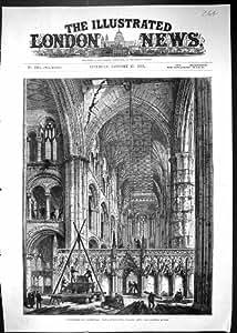 Una Stampa Antica delle Preparazioni 1883 della Cattedrale di Peterborough che Tirano Giù i Centri…