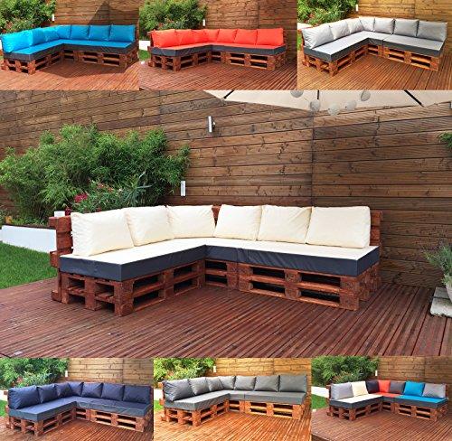 Palettenkissen Palettenauflage Sitzkissen Palettensofa Kissen Paletten Polster (Sitzkissen 120x80x15 cm, Türkis)