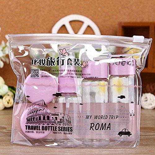 7 pièces/set de voyage Mini plastique transparent Maquillage vide récipient bouteilles Pourpre violet