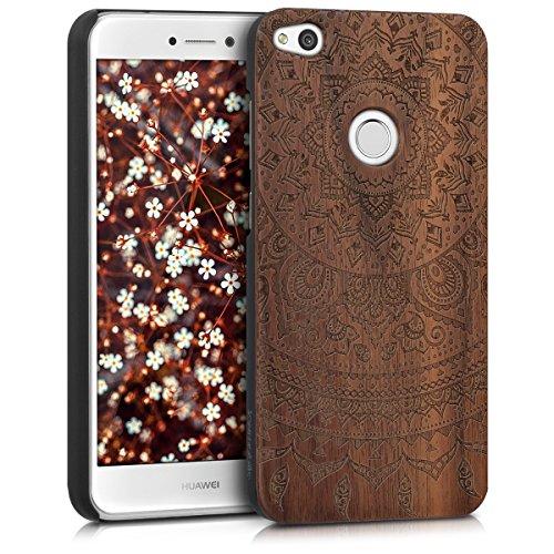 Kwmobile custodia in legno per huawei p8 lite (2017) cover rigida - protezione per cellulare case design sole indiano noce