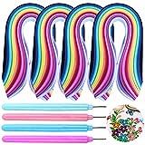 AIFUDA - Juego de 4 herramientas de filigrana de papel ranurado (juego de 4), 1040 tiras, 26 colores, 4 tamaños para proyectos de manualidades de papel