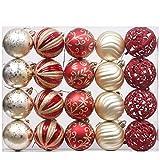 Valery Madelyn 20 Piezas Bolas de Navidad de 6cm, Adornos Navideños para Arbol, Decoración de Bolas de Navidad Inastillable Plástico de Rojo y Dorado, Regalos de Colgantes de Navidad
