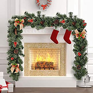 BOTTLEWISE Guirnaldas Navideñas para Chimeneas Escaleras Decoración de Navidad Artificial