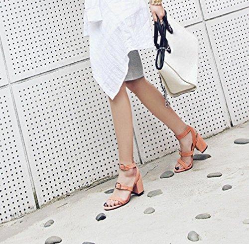 Frau Sommer Sandalen Wölbungsgurt offene Sandalen mit dicken hochhackigen Sandalen Frauen Pink