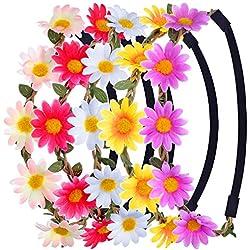 Corona de Flores Colorido Margarita Guirnalda de La Flor con La Cinta Elástica Ajustable, 5 Piezas
